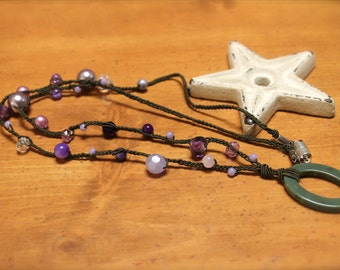 Purple and green beaded id badge holder / eye glass holder / necklace breakaway FREE SHIPPING