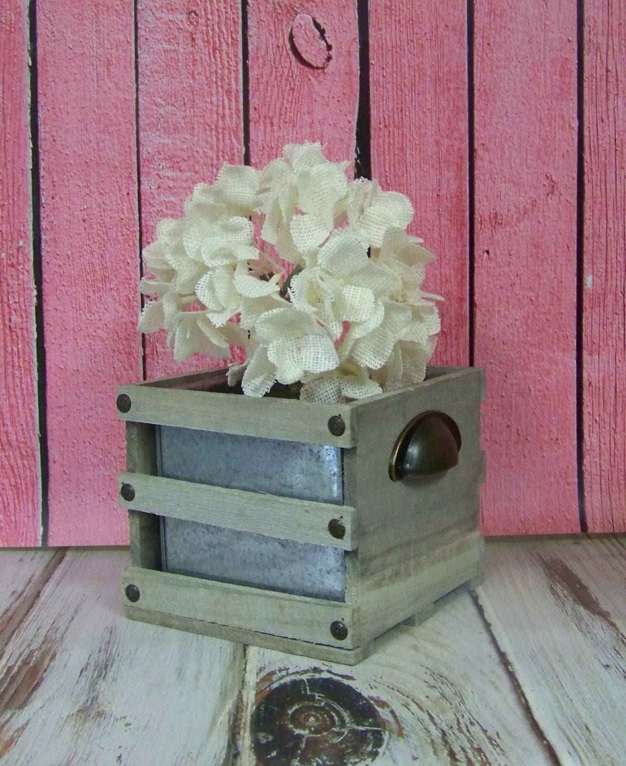 Rustic wedding centerpiece flower boxes with by