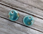 Blue and Brown Round Ceramic Earring Set