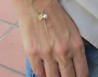Personalized Slave Bracelet, gold filled, delicate chain bracelet, stamped leaf hand chain bracelet, finger bracelet, Handflower