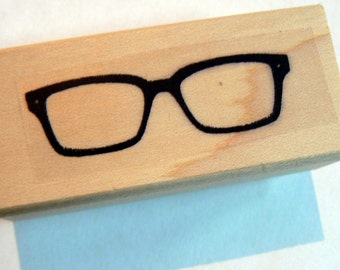 P46 Hipster Glasses wood mounted rubber stamp