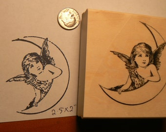 Angel on moon rubber stamp P51