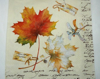 2  images Napkins from Holland maple leaves