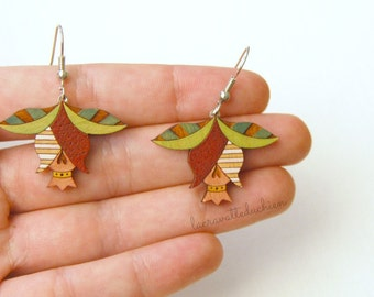 Flower buds dangle earrings, Wooden flower earrings,  Spring jewelry, gift for her
