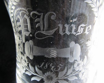 SALE Antique 1845 Etched Engagement/Wedding Glass, P. Luise, September 1845
