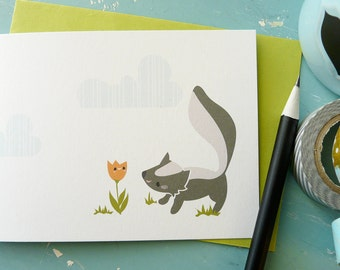 Skunk and Flower Note Card