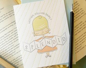 Simply Splendid Mother Letterpress Note Card 1pc
