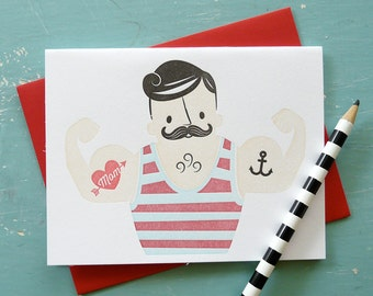 Muscle Man Mom Letterpress Note Card 1pc