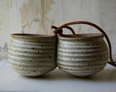 twin hanging pottery planter