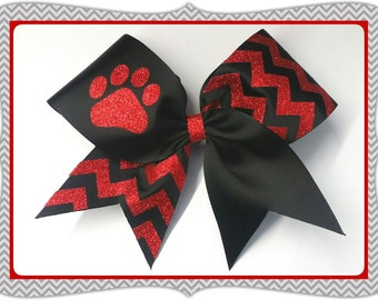 "3"" Custom colors Glitter Chevron Paw print Black CheerBow or Softball Bow ""BOW your FRO"" by No Bow... No Go!"