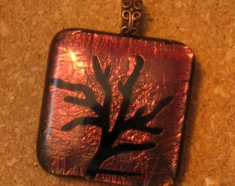 Dichroic Glass Pendant Etched Tree Fused Glass Pendant Dichroic Jewelry Fused Glass Jewelry