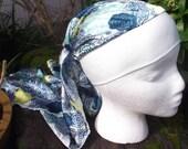 Blue Silky Mandala printed Head scarf chemo hat YOUTH CHILD