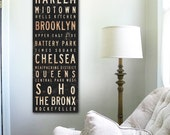 New York City Neighborhoods typography graphic gallery wrapped Canvas Art by stephen fowler