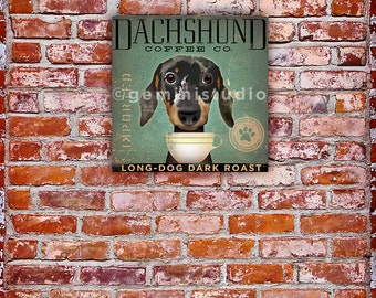 Dachshund Coffee Company dog graphic art on gallery wrapped canvas by Stephen Fowler