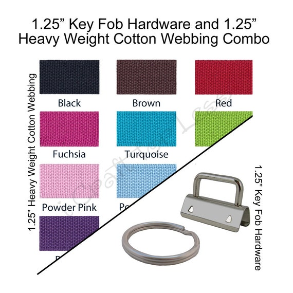 10 Key Fob Hardware / 5 Yards Heavy Weight Cotton Webbing Combo - 1.25 Inch - Plus Instructions - SEE COUPON