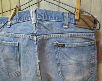 70s Lee Rider  Jeans Cut offs faded Vintage Blue denim distressed worn Workwear Made in USA 34
