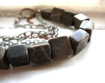 Jasper Necklace, Jasper Gemstone Statement Chain Necklace, handmade artisan Jasper jewelry