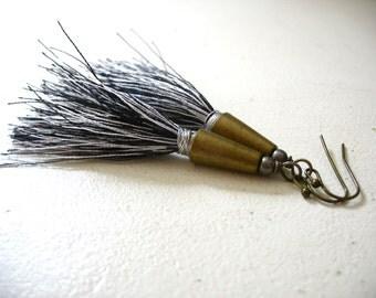 Tassel Earrings, Black White Long Tassel Earrings, Tassel Jewelry, Tribal Jewelry, Handmade Tassel Earrings