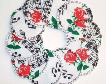 Make-up Remover Pads Music Notes and Roses Washable Facial Pads, Cosmetic rounds, Reusable Cotton Rounds