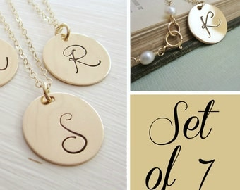 Personalized gold initial necklaces, bridesmaids gift set of SEVEN 7, large gold initial, gold monogram necklace, custom bridesmaids jewelry