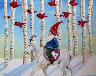 Through the Forest - 8 x 8 Print of Original, Acrylic, Tomte/Gnome Painting by Carolee Clark