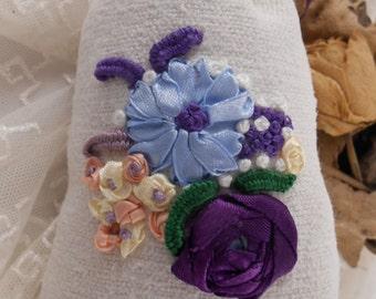 Ribbon Embroidered Vintage Linen - Rose Scented Sachet - Handmade
