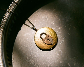 Unlock the Mystery - vintage large brass locket long necklace with padlock
