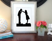Personalized Wedding Gift, Couple Silhouette, Special Date Art, Custom Portrait