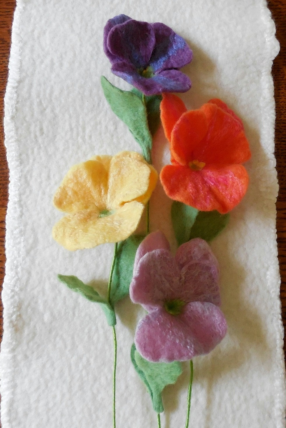 Pansy felted flower create your own bouquet for Design your own flower arrangement