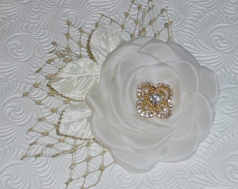 Wedding Headpiece Ivory Flower Fascinator  - Made to Order in Gold or Silver with  Ivory  White or Champagne