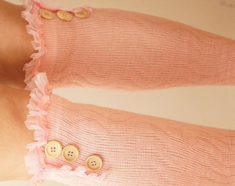 Light Pink  Knit Leg Warmer with pink Sequil and tulle and  wood buttons, boot sock over the knee, chunky leg warmers