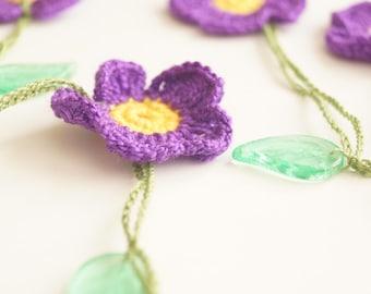 Violet Purple flower, Spring Necklace, Lariat, Bracelet - Turkish lace Work-OOAK