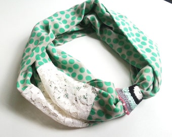 Infinity Scarf,Loop Scarf, Circle Scarf, Cowl Scarf ,Soft scarf..Viscone scarf....Green, cream..Dotted