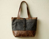 waxed canvas and leather tote - CLASSIC TOTE - select small or large - waxed canvas purse - leather tote bag