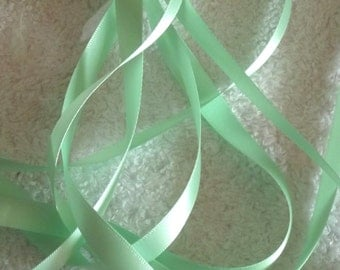 Mint Double Satin Ribbon. 10mm x 3 metres