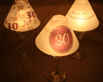 "Wine Glass Luminary ""Lamp"" Shade - Set of 6 - Birthday"