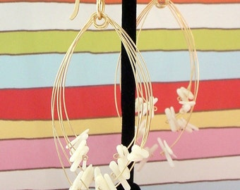 White Coral & Gold Fireworks Earrings