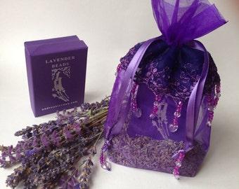 Organic Lavender Sachet Purple Beaded Bag Gift Wrap