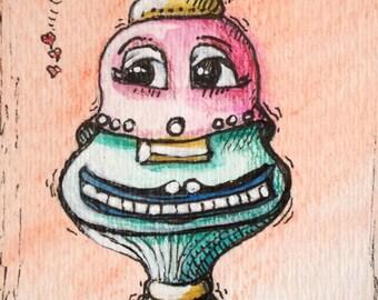 ACEO Robot Print  Robot Love Nervous Laughter Rebecca Salcedo Pink Tiny Art