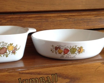 Le Persil Spice of Life Corning Ware Casserole Dish and Pan