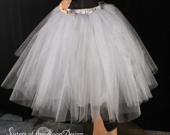 Silver Iridescent Tulle Tutu Skirt Tea Length Romance Petticoat With Underskirt Bridal Bridesmaid Wedding