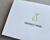 Perfect Pear Punny Food Letterpress Greeting Card with Envelope