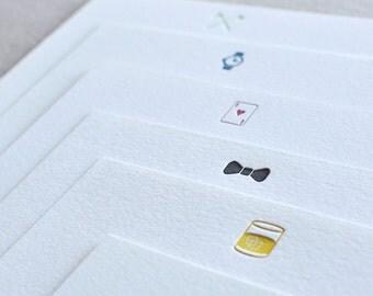 Set of 6 Gentleman's Letterpress Note Cards with Envelopes