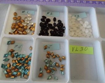Choose your Vintage Glass Stones 8 by 6mm Oval or Diamond 24 pcs. 5 to choose from  VL 30