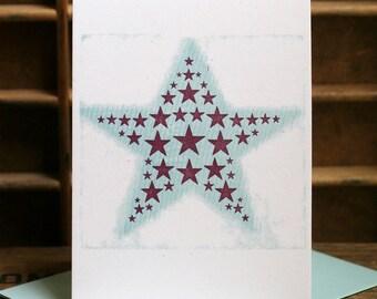 Stars letterpress card SET OF 6