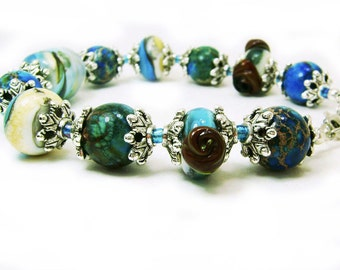 Seaside - Turquoise Colored Lampwork Glass Beads and Dyed Imperial Jasper Stone Chunky Bracelet