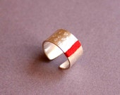 Sterling Silver Ring with Stamped Hearts and Red Thread, Wide band adjustable ring - Heart Attack - Custom made ring