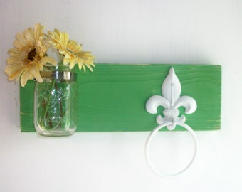 Wood Kitchen or Bathroom Wall Shelf  Towel Ring  fleur de lis Funky Wild Retro Spring Forest Green