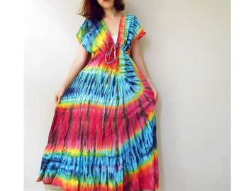 New Tropical Art Gypsy Handmade Orange Yellow Green Tie Dye Cotton maxi Kimono long Maxi Casual Dress S-L (T12)