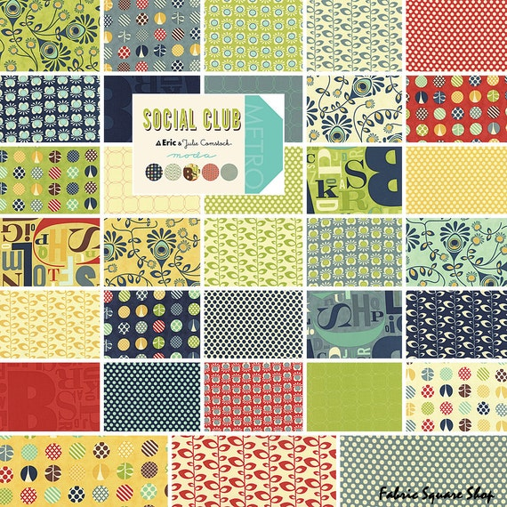 Layer Cake Quilt Fabric : Moda SOCIAL CLUB Layer Cake 10 Precut Fabric Quilting